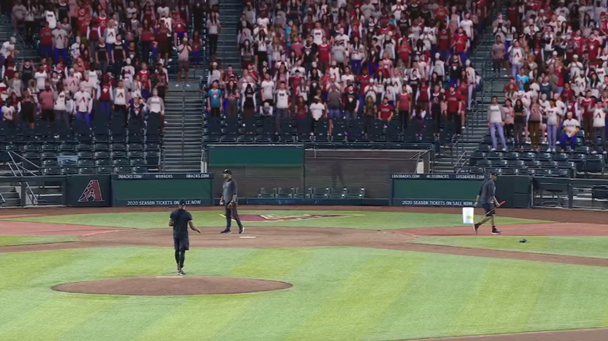 A baseball game with fake fans
