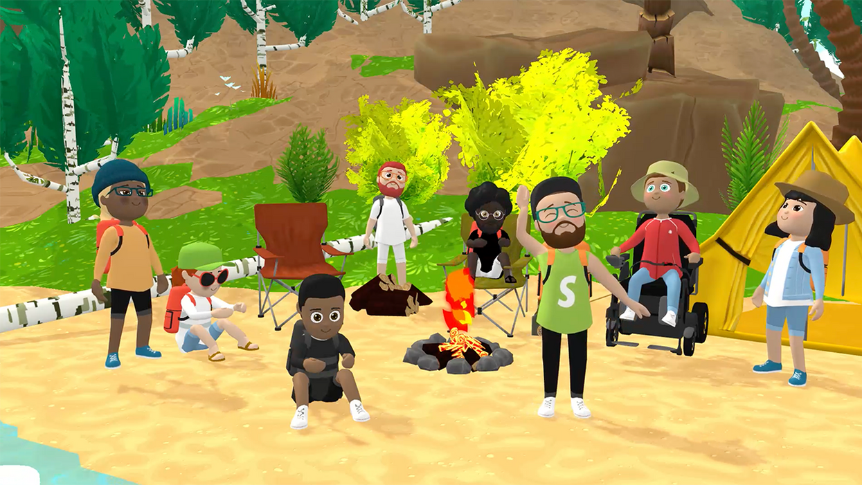 A cluster of avatars on a virtual beach in Shopify Party.