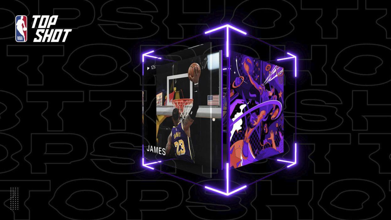 A digital collectible captures NBA player LeBron James mid-dunk.