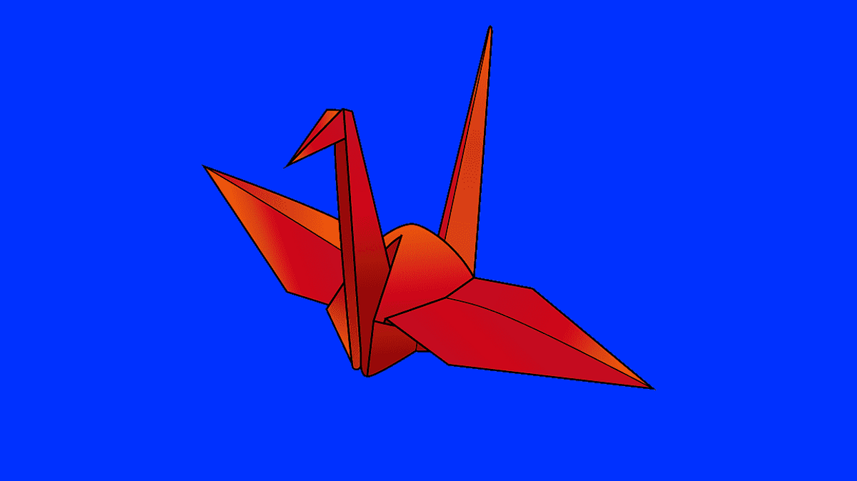 A drawing of a paper origami crane