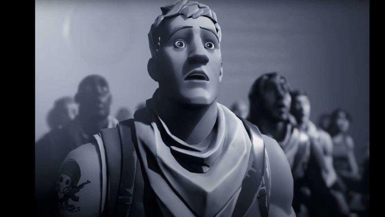 """A grayscale screenshot of Fortnite characters from Epic's """"Nineteen Eighty-Fortnite"""" video"""