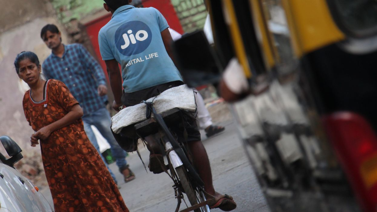 A Jio delivery person on a bike