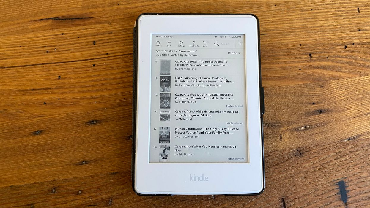 A Kindle with books about coronavirus