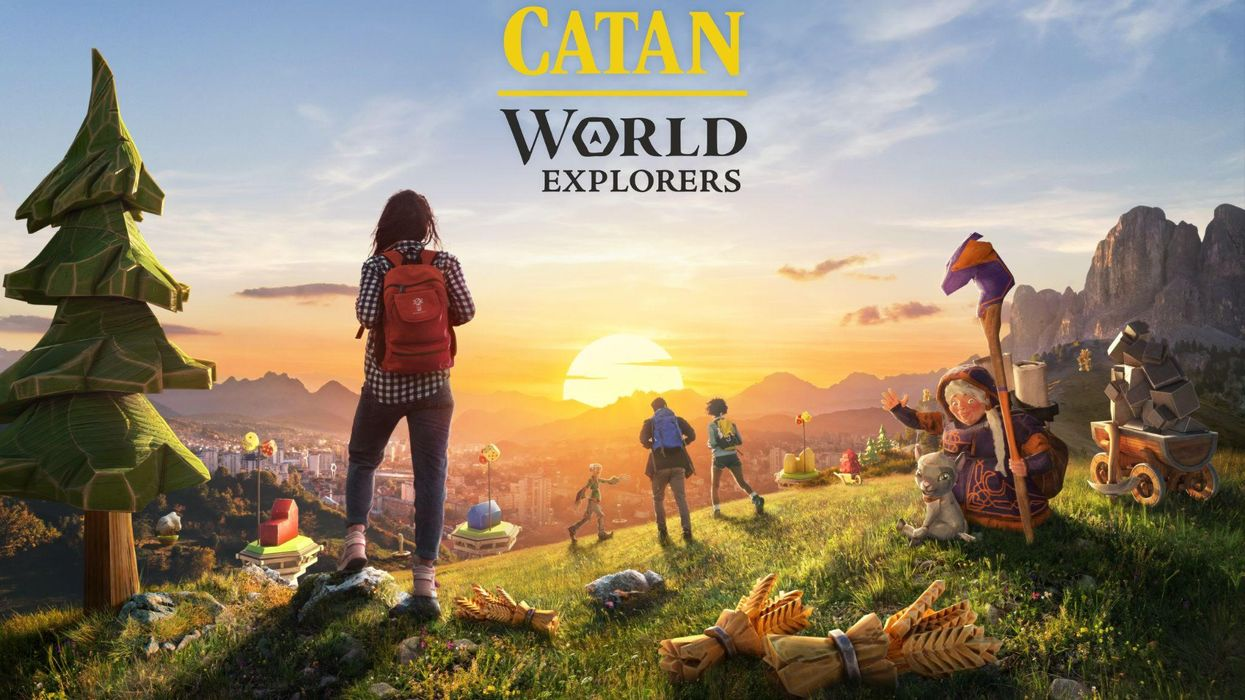 A logo and art screenshot of Catan: World Explorers.