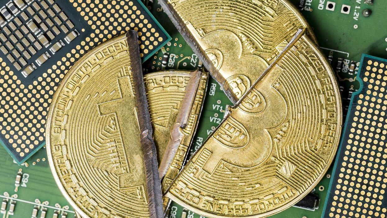 A photo illustration of bitcoin
