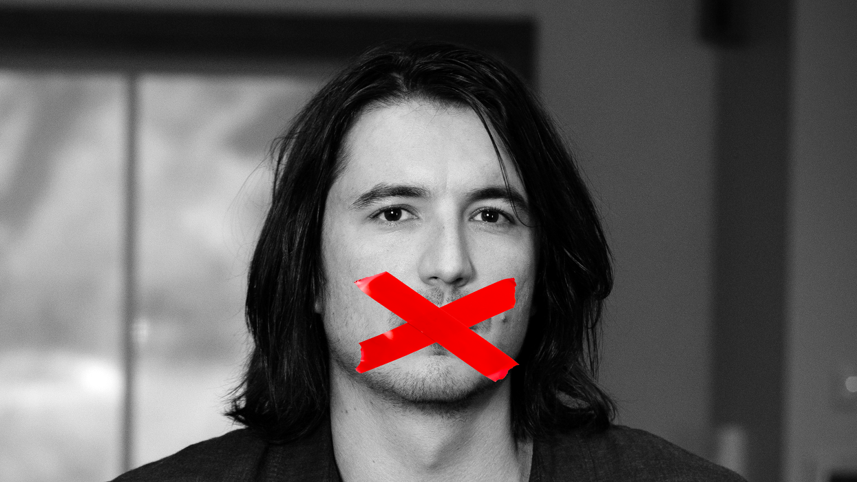 A photo-illustration of Robinhood CEO Vlad Tenev with red tape over his mouth.