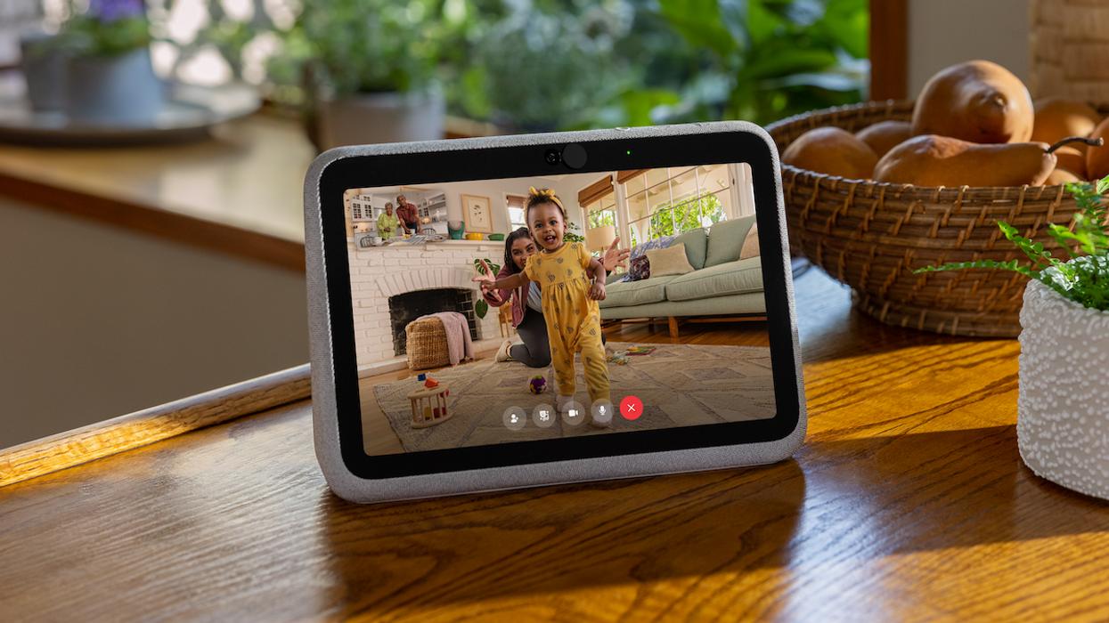 A photo of a Portal Go smart display