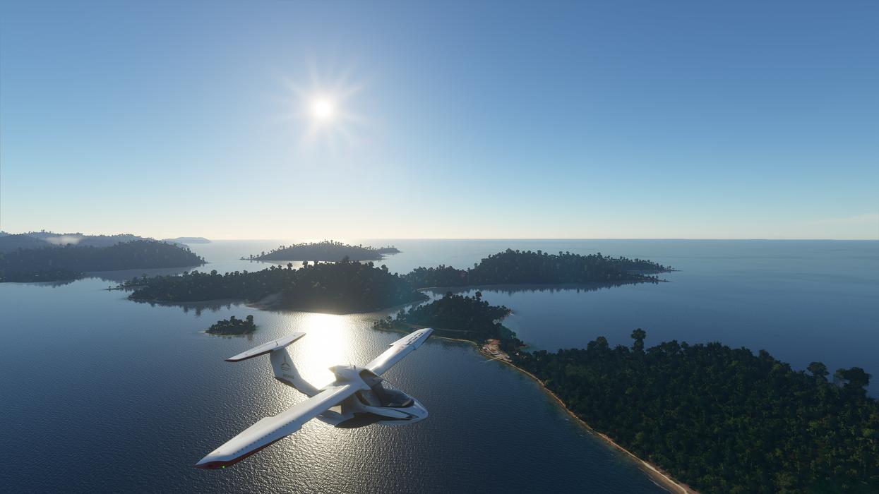 A screenshot from Flight Simulator showing a plane over the British Virgin Islands
