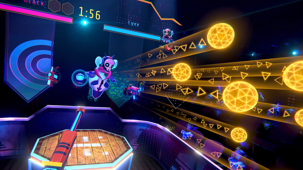 A screenshot from the Oculus game Blaston