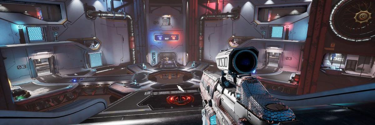 A screenshot of 1047 Games' free-to-play shooter Splitgate.