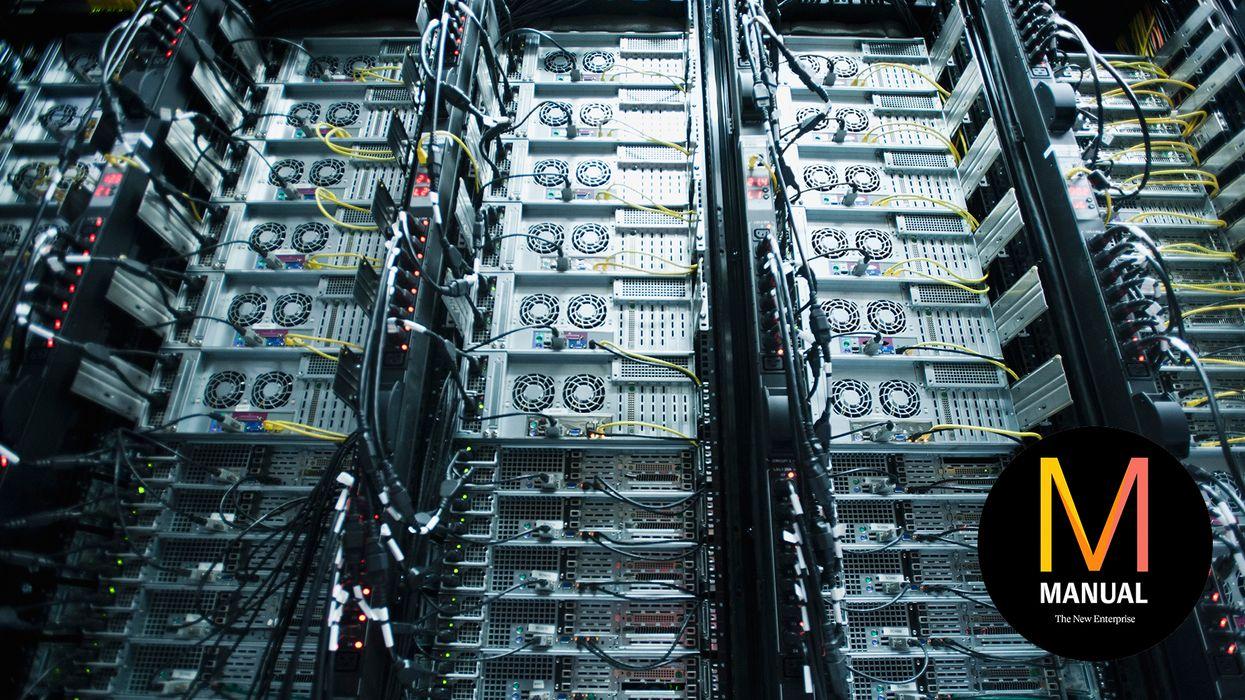 A server rack in a data center.