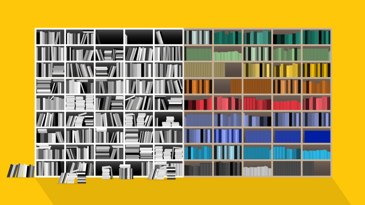 A shelf of disorganized and organized books.
