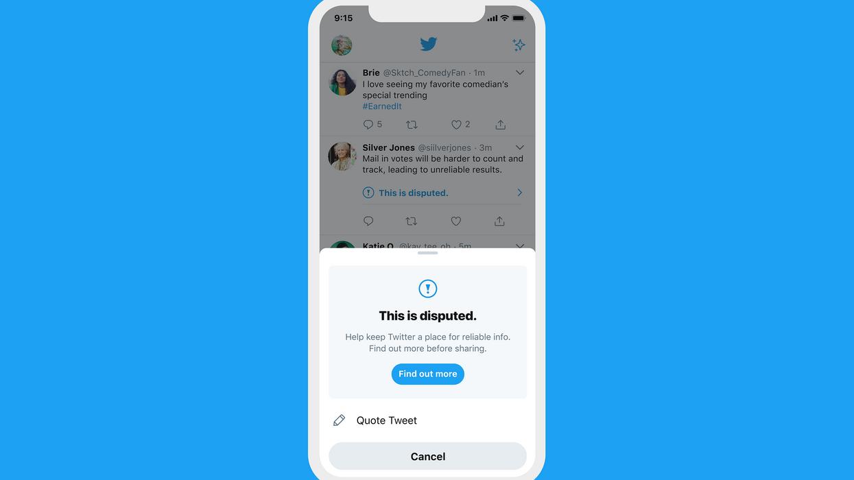A Twitter misinformation warning screen