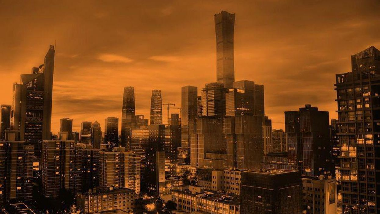 A view of the Beijing skyline, tinted orange