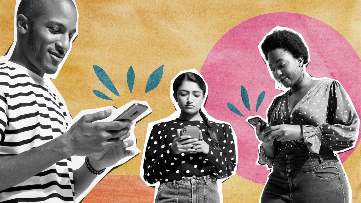 An illustration showing three separate individuals, a man and two women, each using a smartphone against a watercolor-style background.