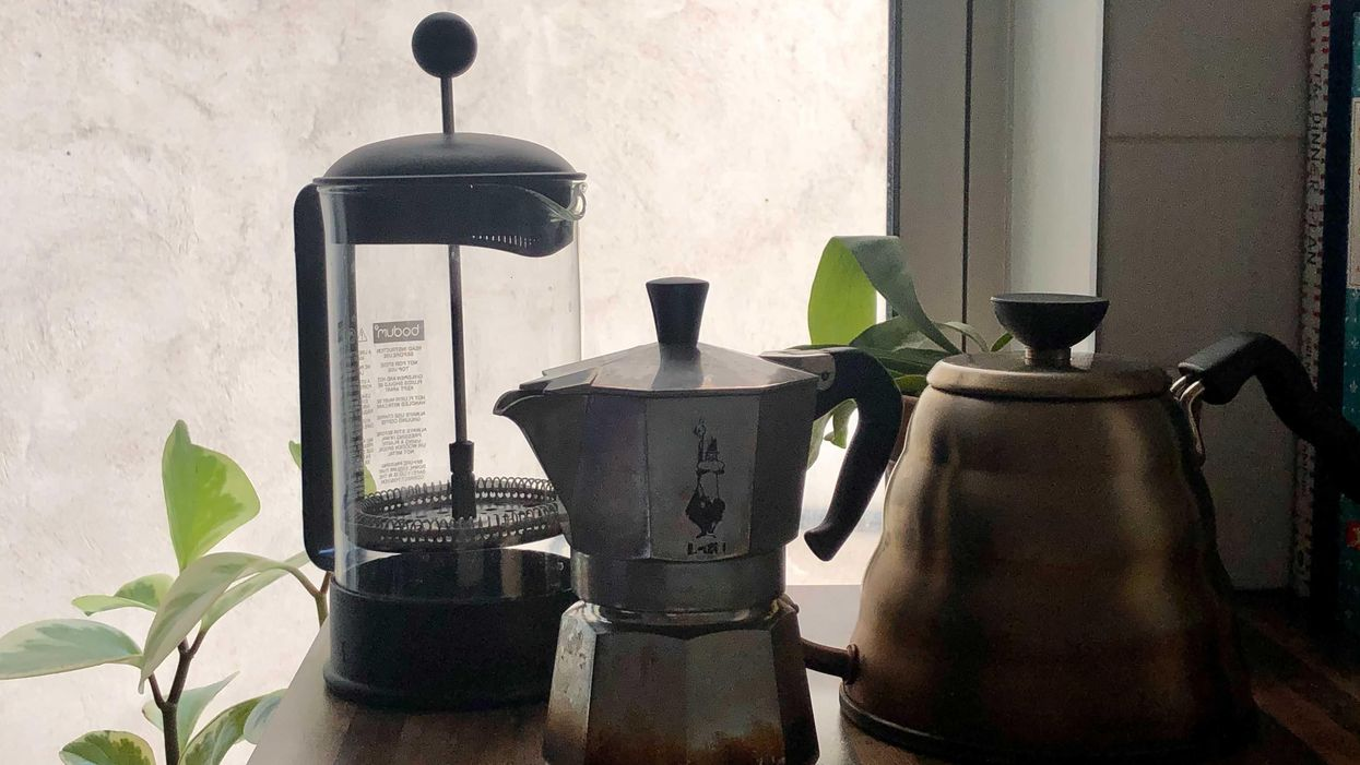 All three of Jane's coffee pots have been sourced from her local Buy Nothing group.