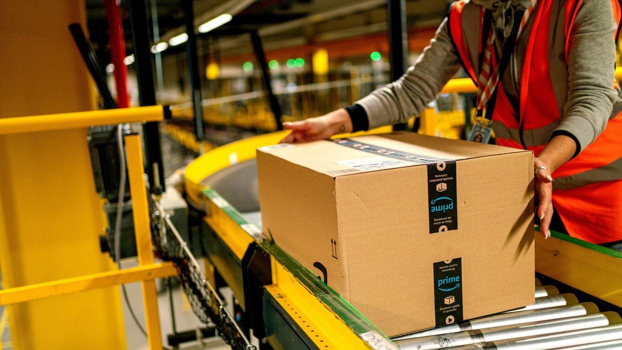 Amazon package on fulfillment center conveyor belt