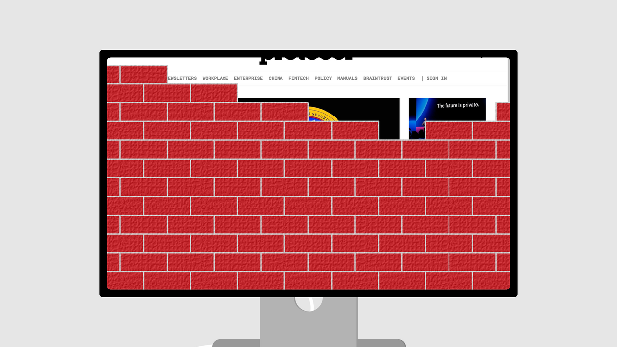 An illustration of a computer screen being bricked up.