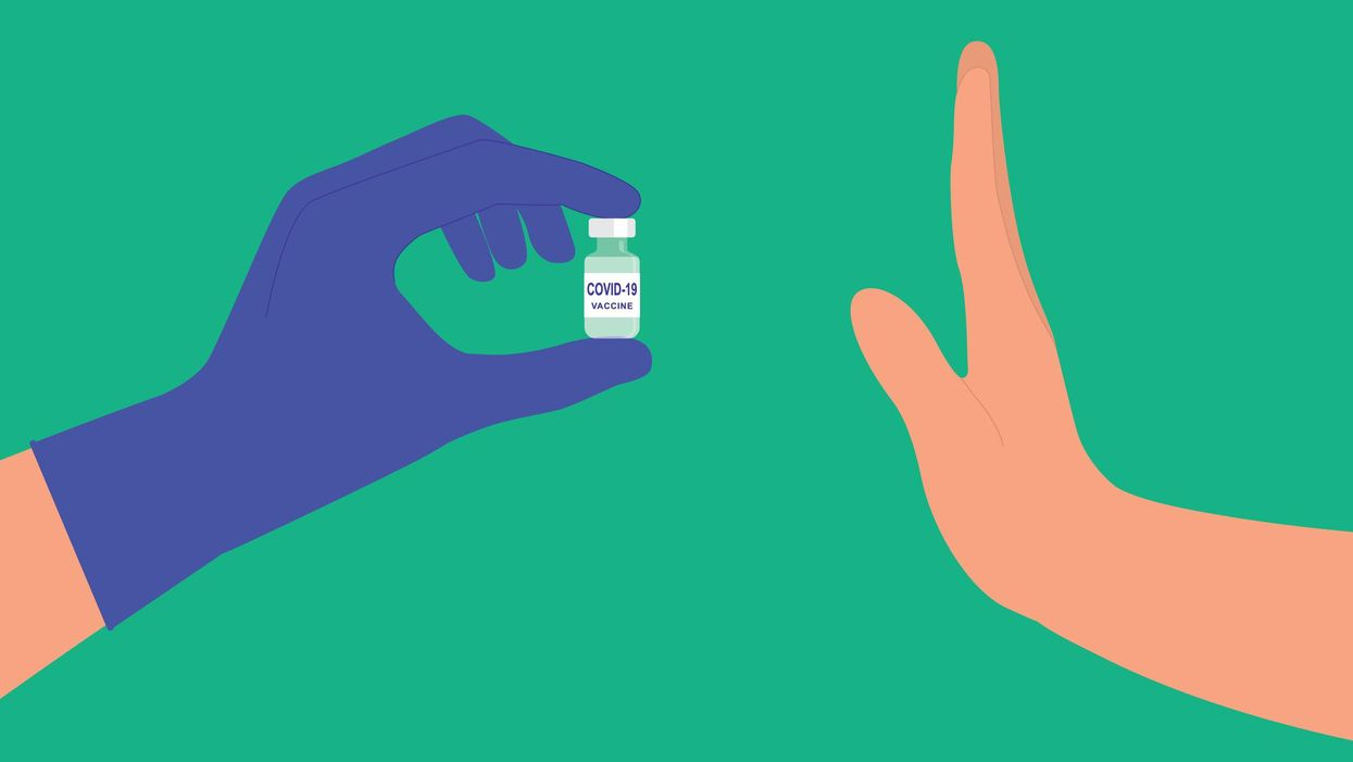 An illustration of a hand refusing another hand offering a COVID-19 vaccine jar.