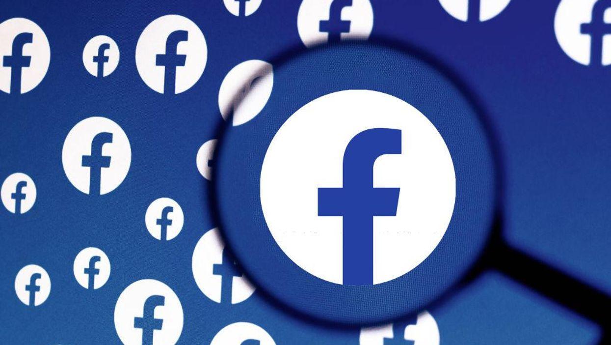 An illustration of circular Facebook logos on a blue background
