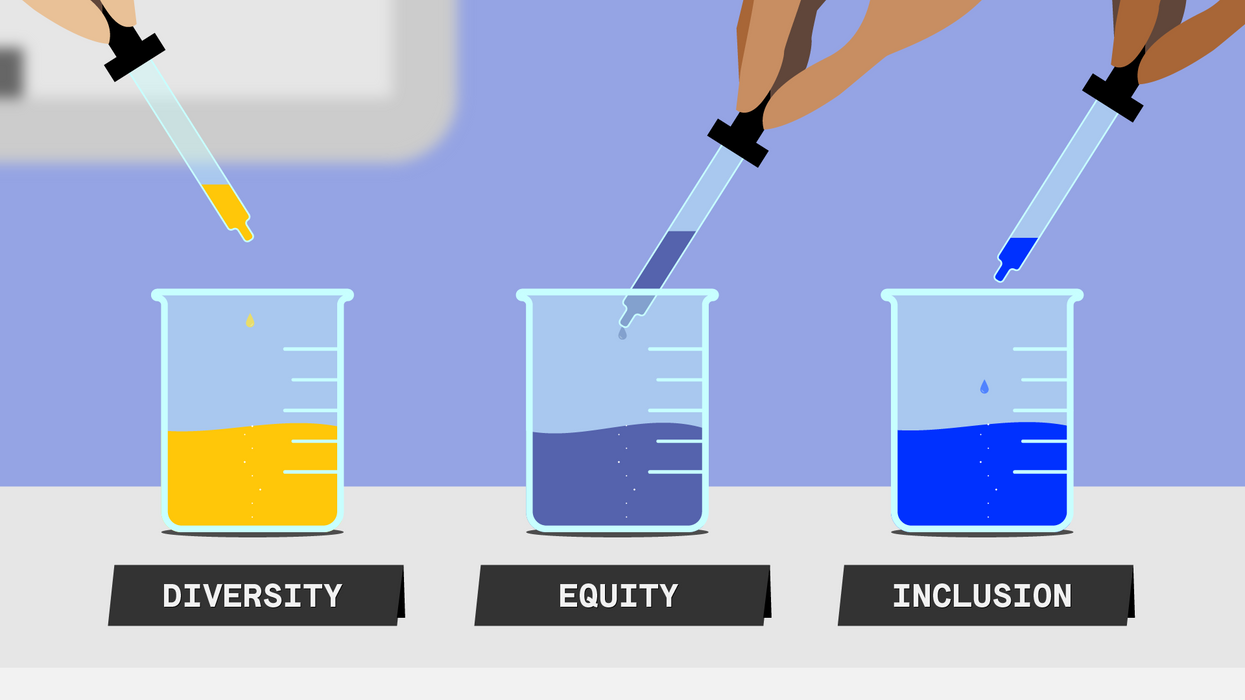 """An illustration of three jars filled with liquid, labelled """"Diversity,"""" """"Equity"""" and """"Inclusion."""""""