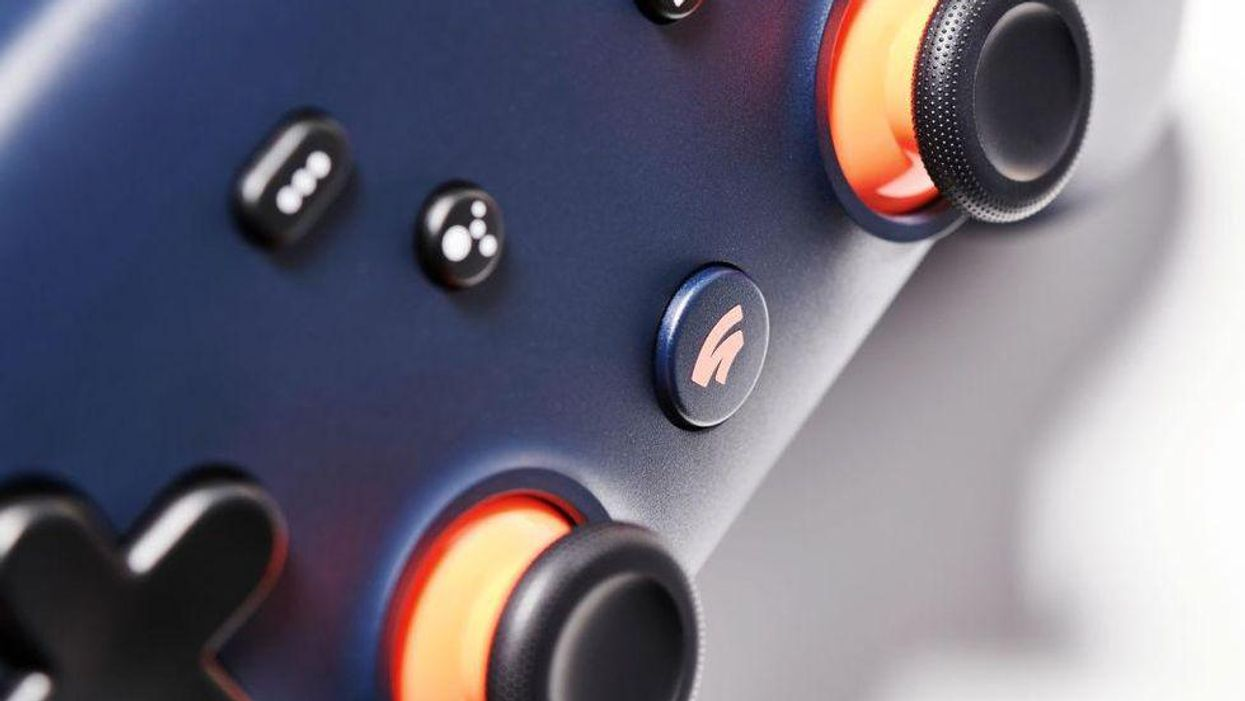An image of Google's Stadia controller and logo.