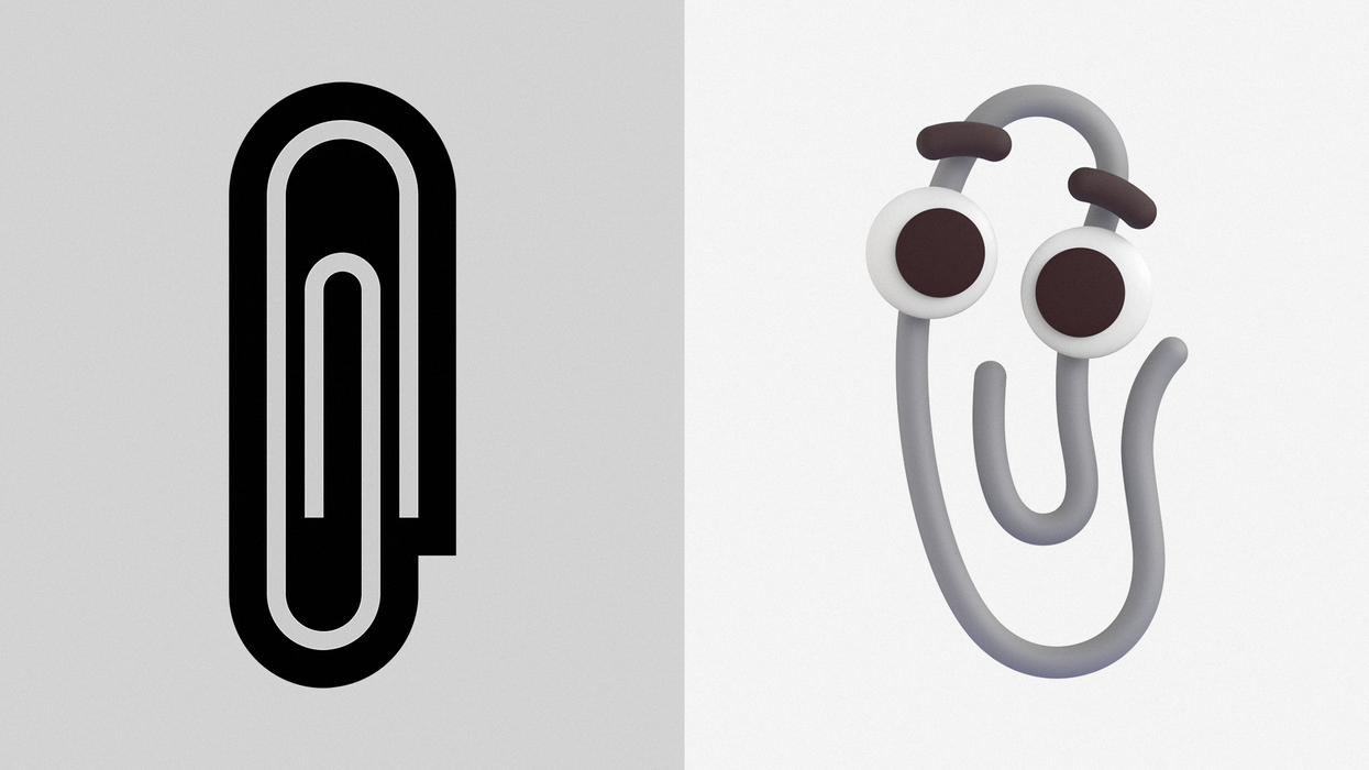 An image of Microsoft's old paperclip emoji side by side with the resurrected Clippy.
