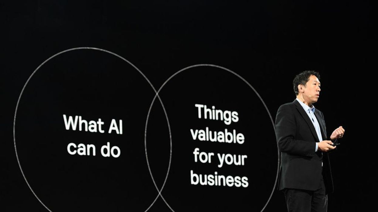 Andrew Ng of Landing.ai speaks at an Amazon event in 2019.