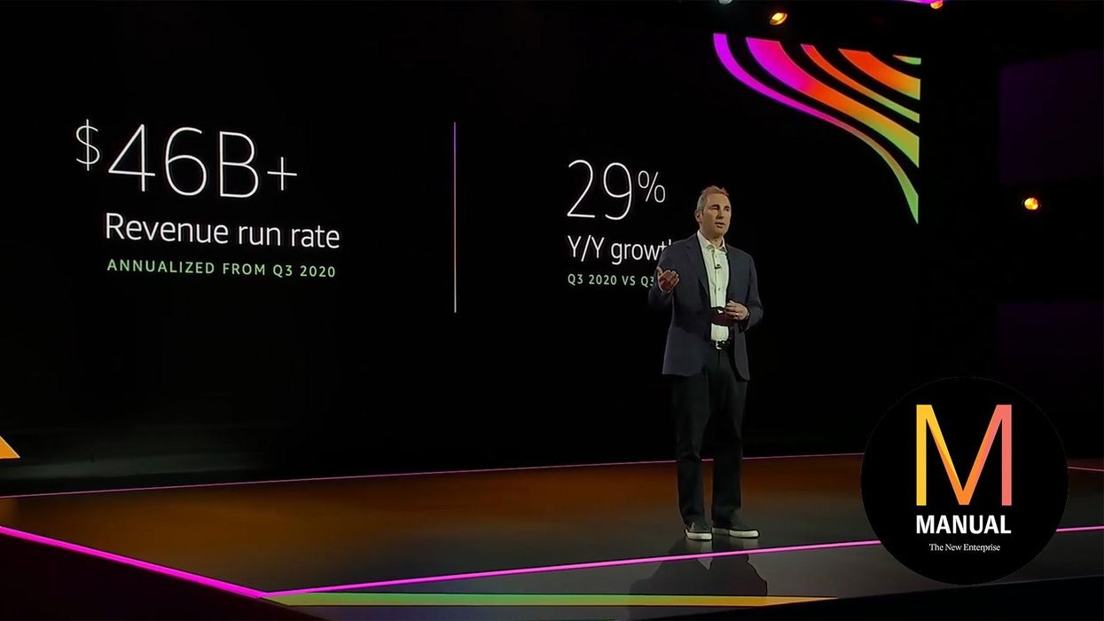 Andy Jassy presenting his keynote at this year's AWS re:Invent conference.