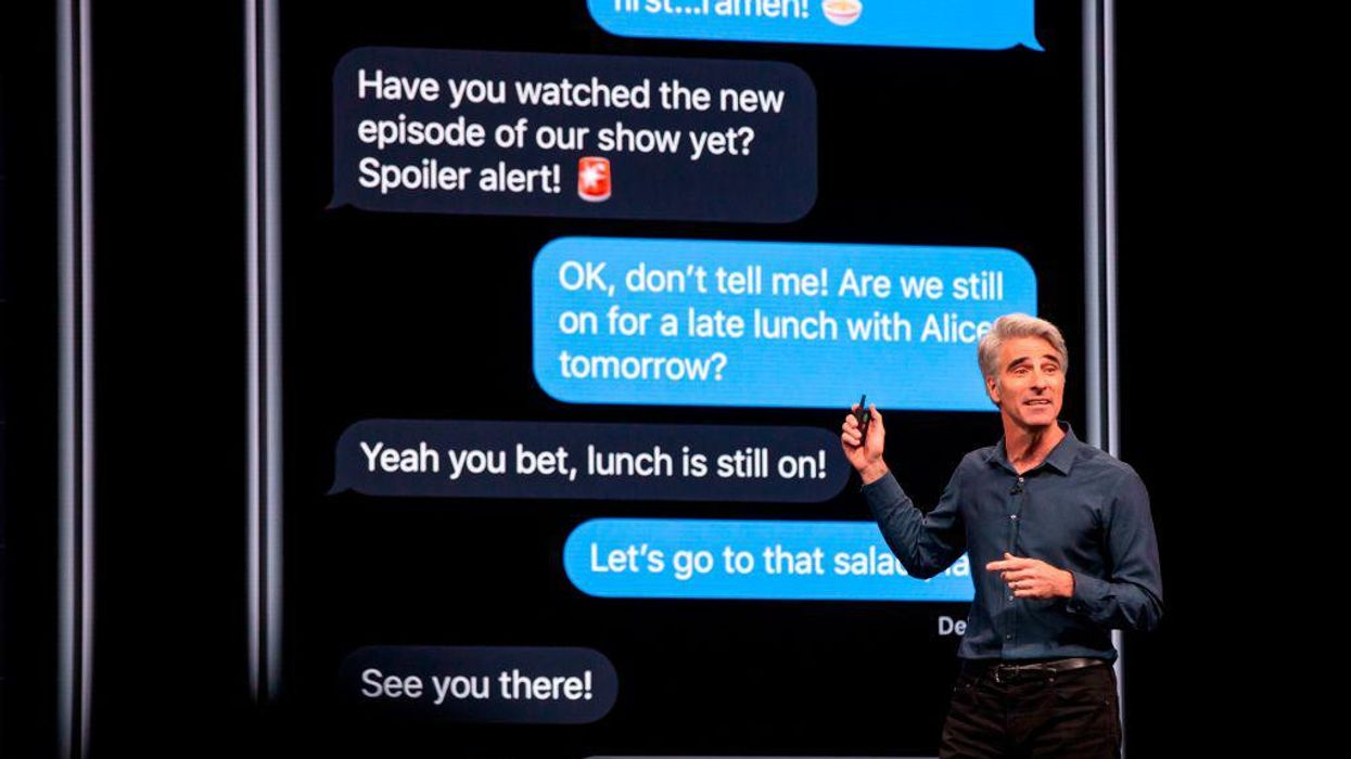 Apple's Craig Federighi speaks during the company's Worldwide Developers Conference in San Jose, Calif. in 2019.