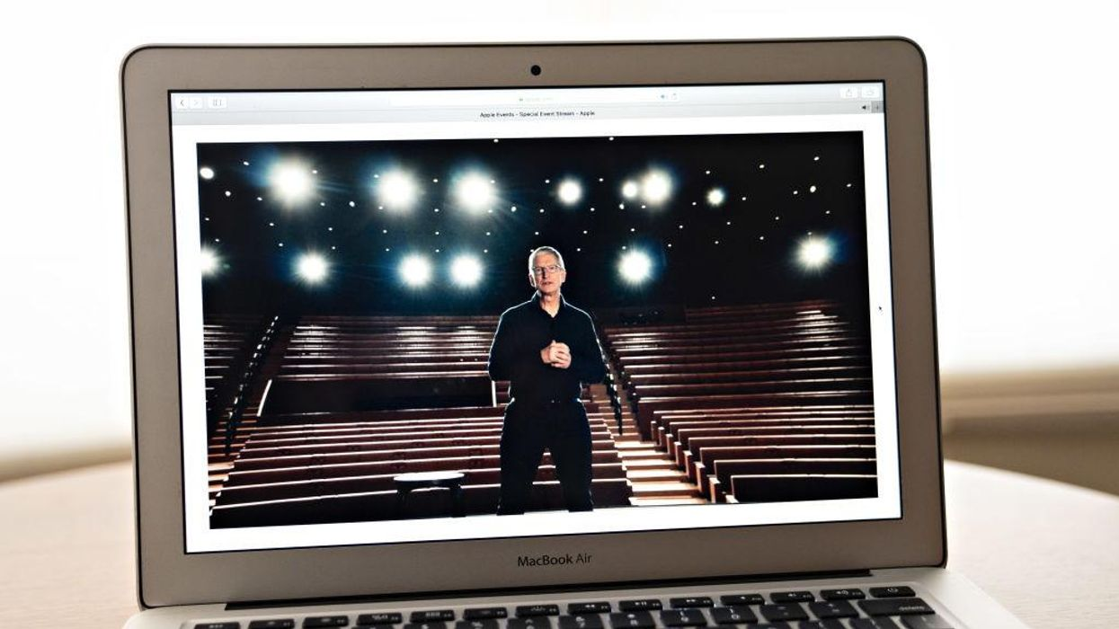 Apple CEO Tim Cook speaking during the keynote stream of last year's all-virtual WWDC.