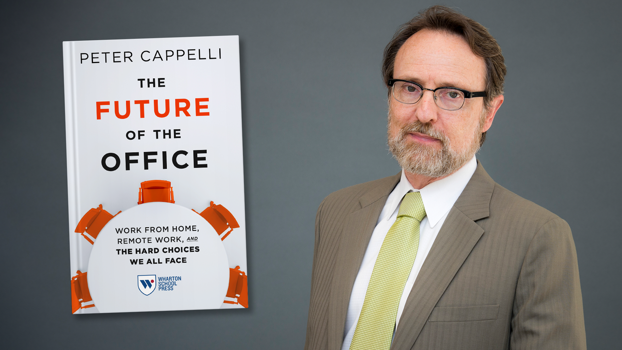 Author Peter Cappelli next to his book, The Future of the Office