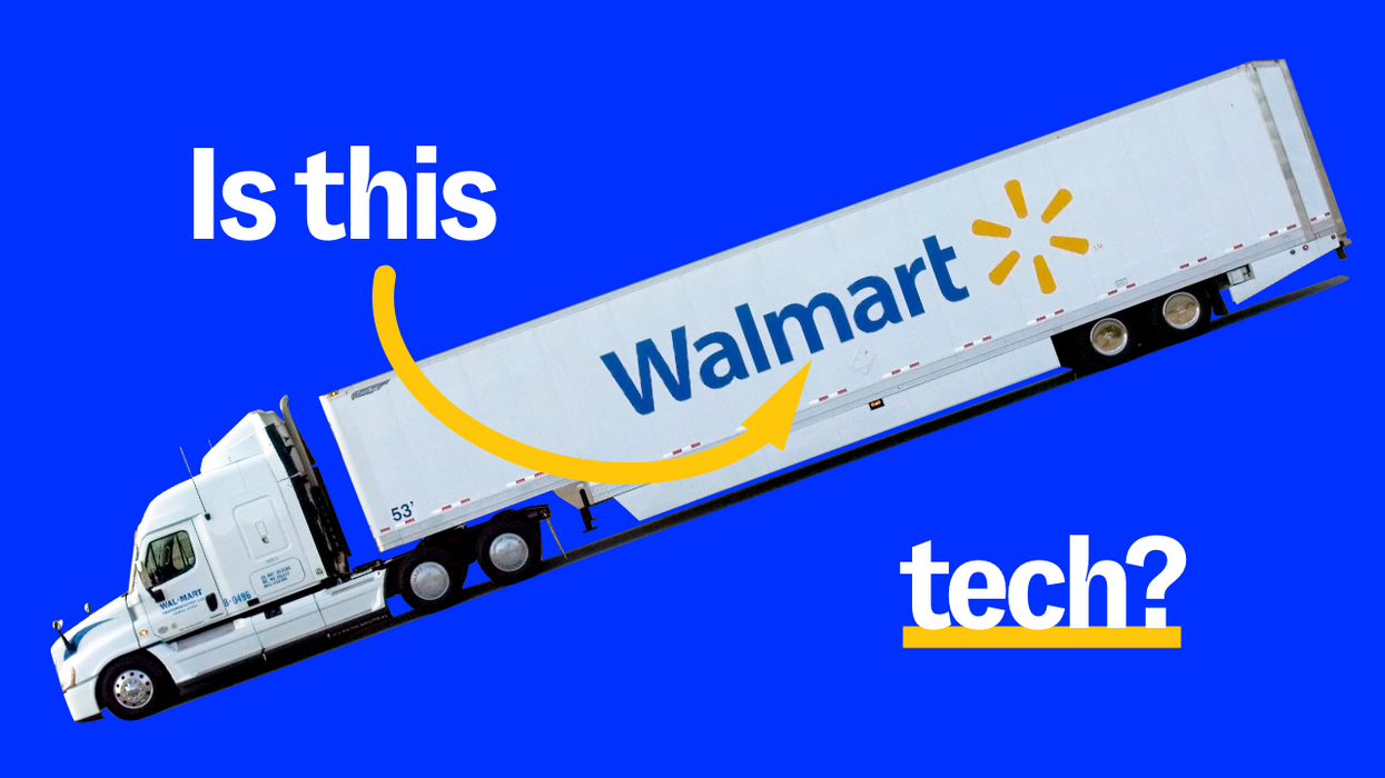 """A Walmart truck on a blue background under the words """"Is This Tech?"""""""