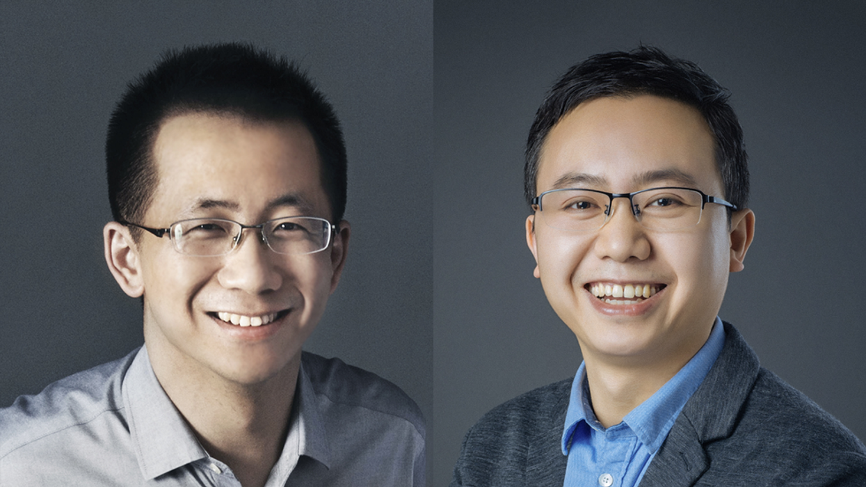 ByteDance CEO Zhang Yiming (left) and his successor, Liang Rubo (right).