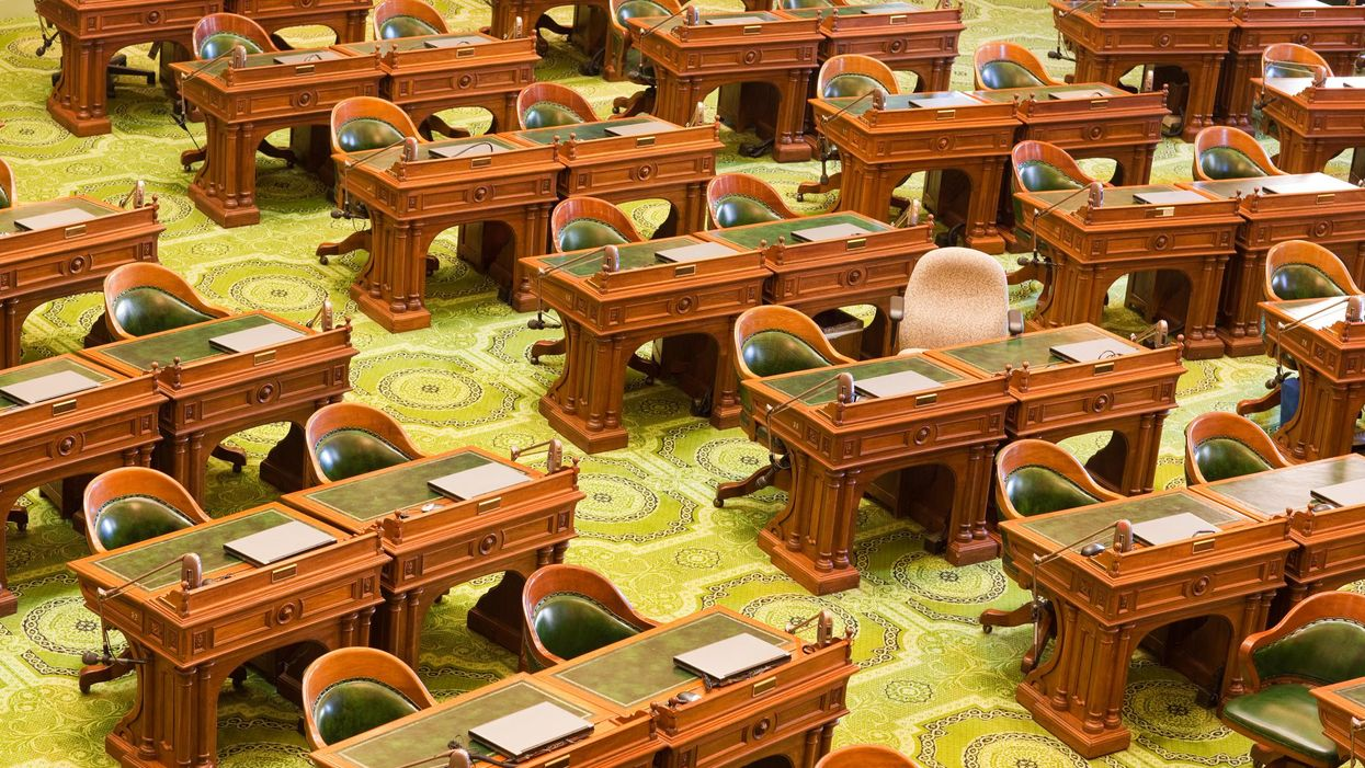 California's state assembly room, empty
