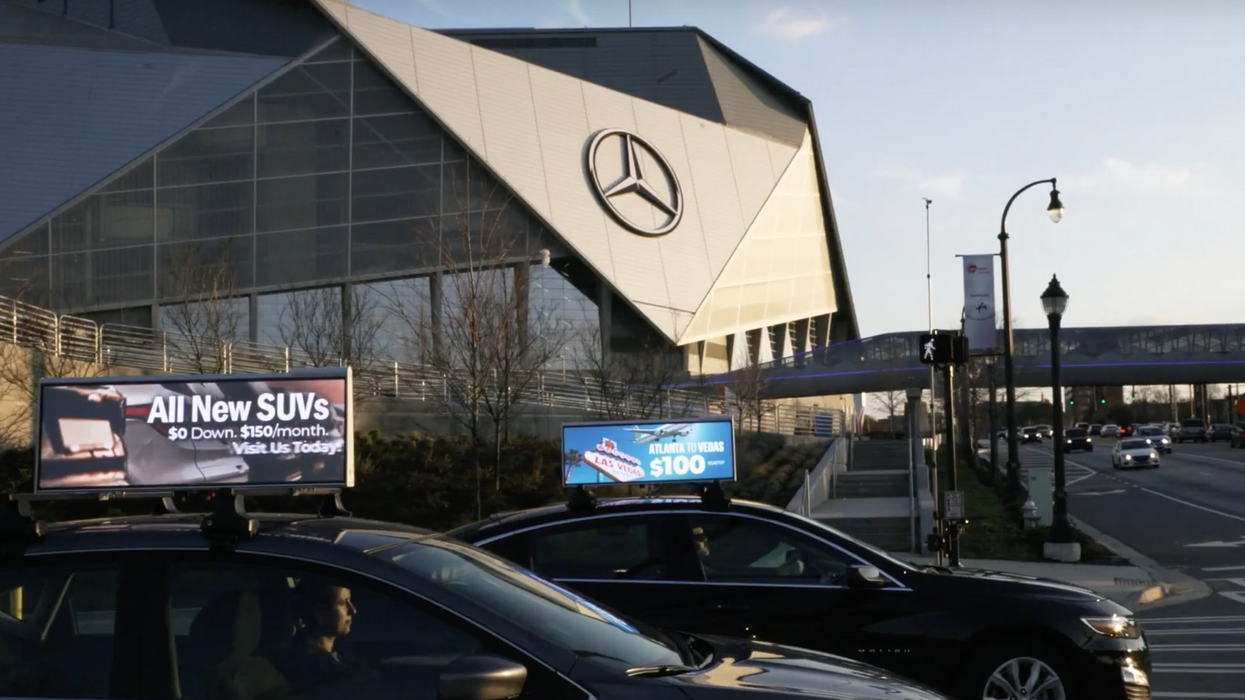 Cars with video ads on top