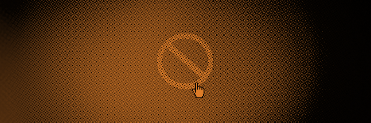 An image of a circle and a slash as a computer icon