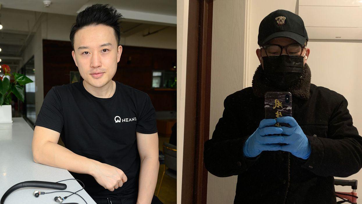 Chinese entrepreneur Dantin Liu in a Kickstarter photo and in a selfie taken under quarantine.