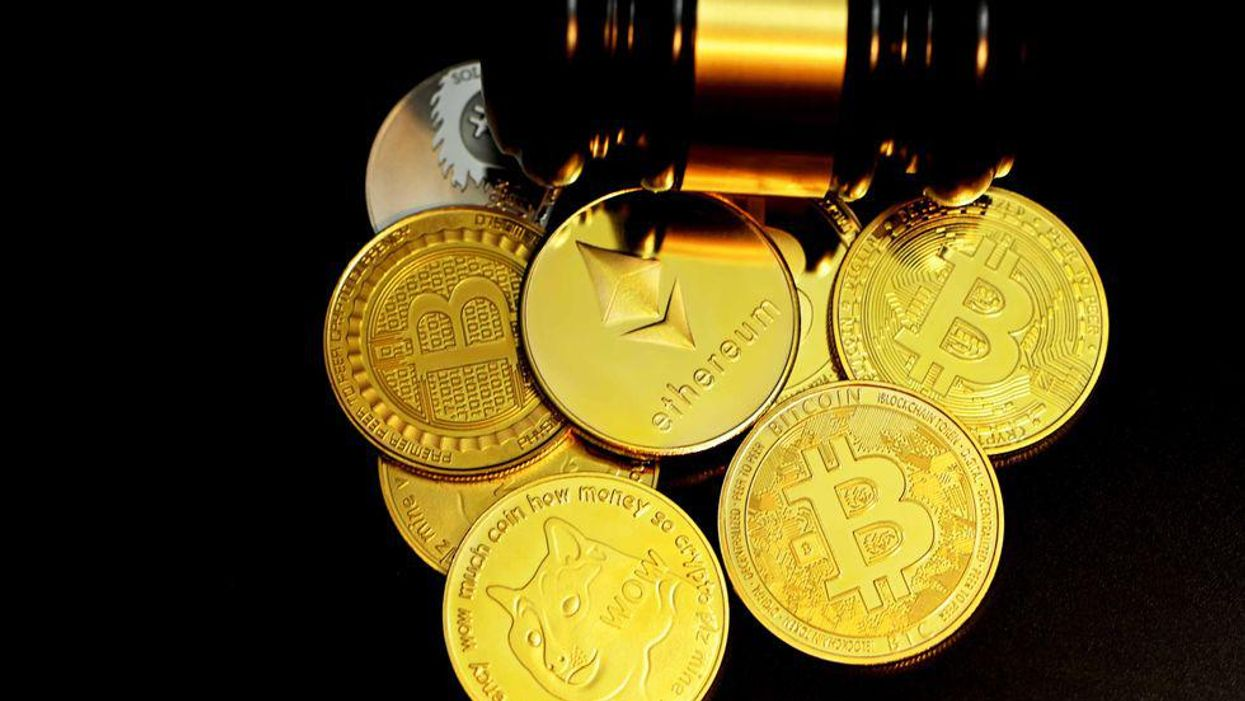 Bitcoin and ethereum with gavel
