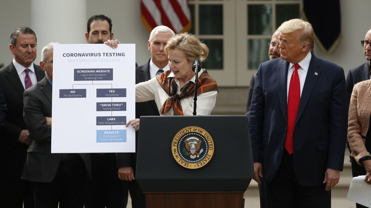 Deborah Birx speaks at the White House on March 13, 2020