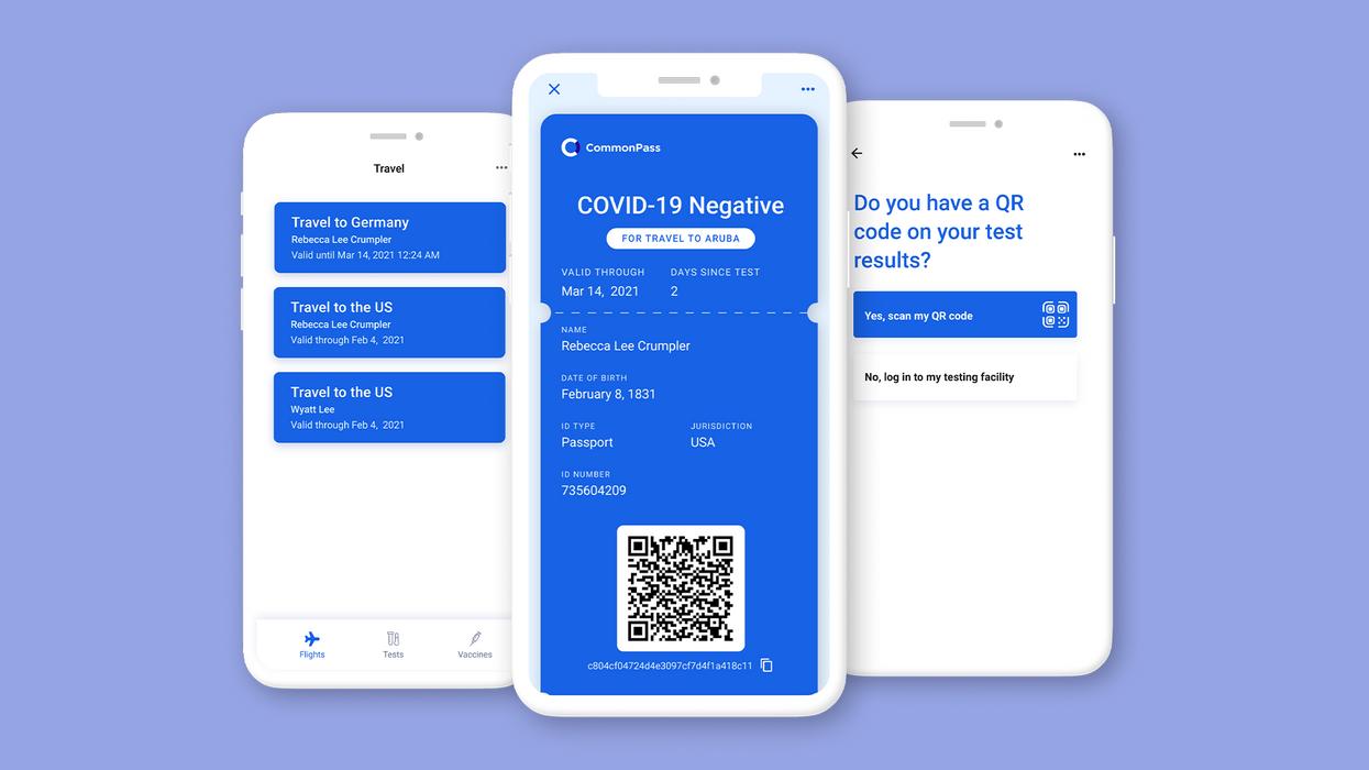 COVID-19 passport app on a series of phone screens