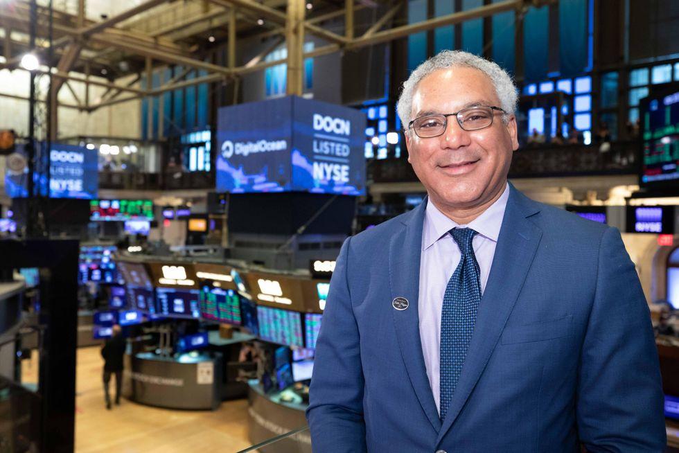 DigitalOcean CEO Yancey Spruill on the floor of the New York Stock Exchange.