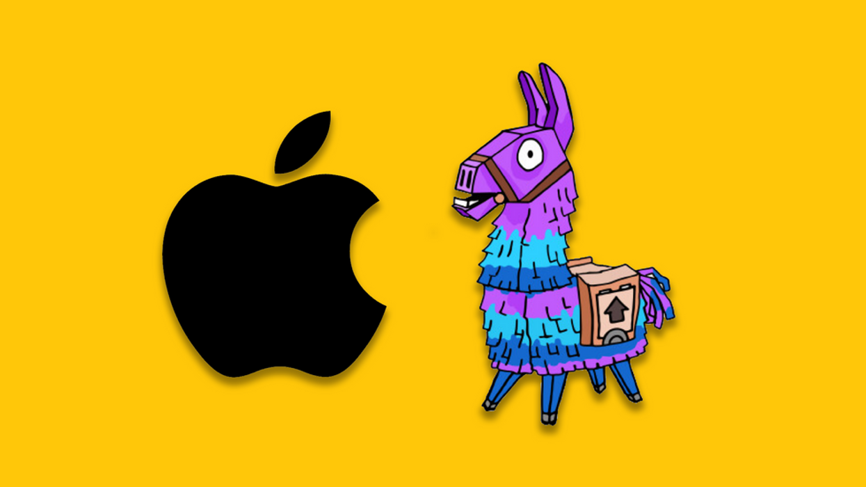 The Apple logo and a Fortnite character on a yellow background.