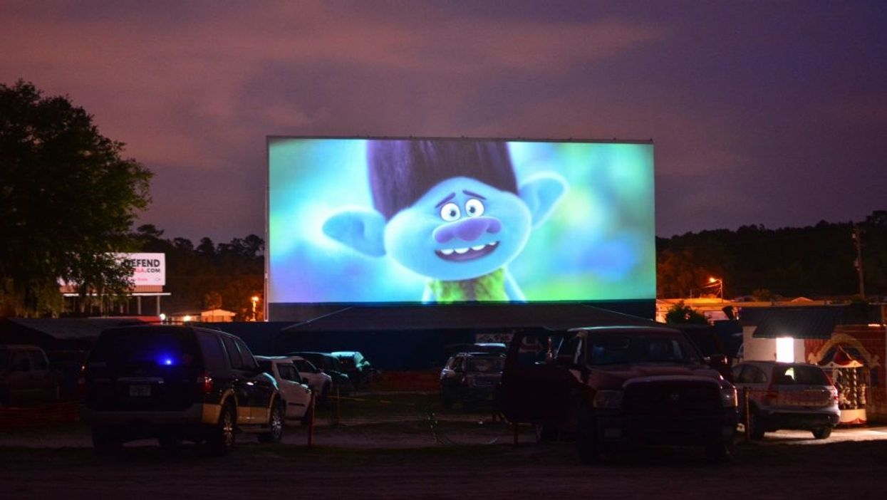 Drive-in theater showing Trolls World Tour