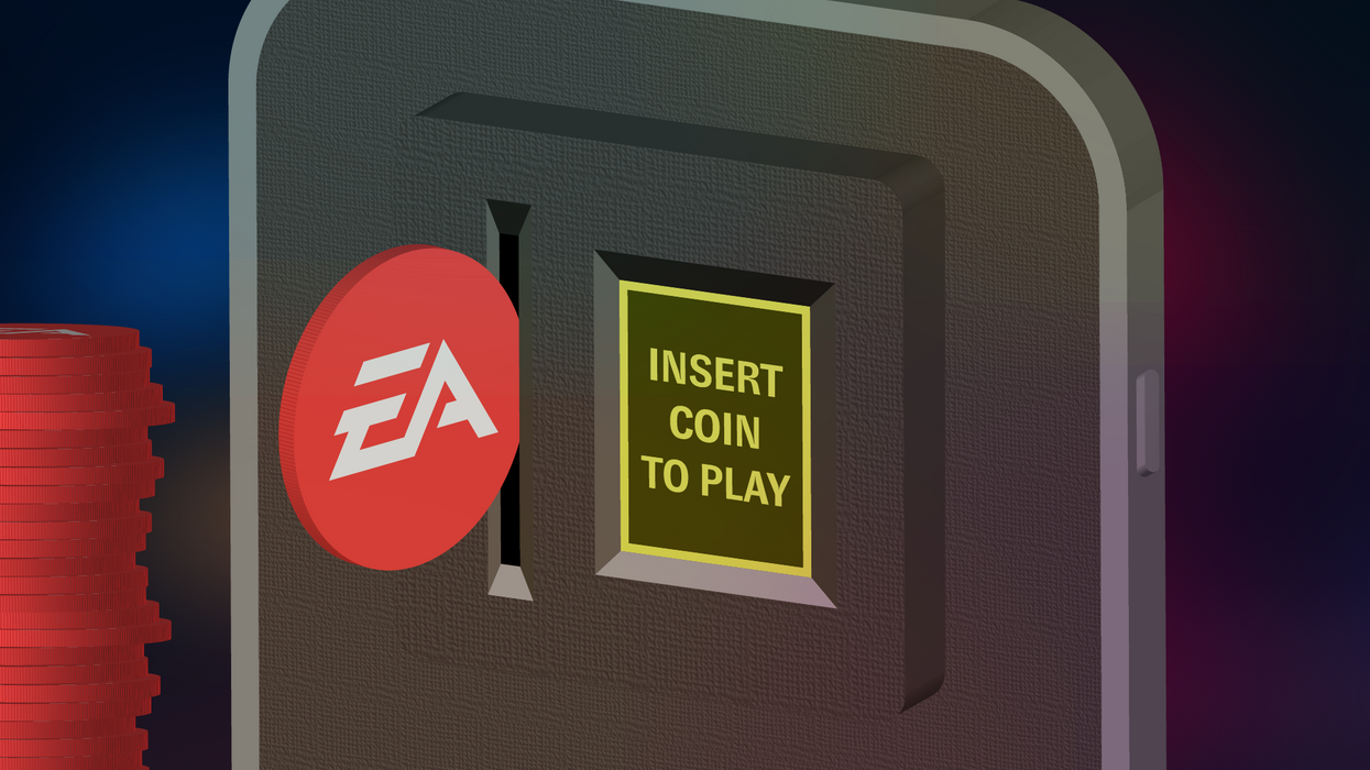 """EA coin going into """"insert coin to play"""" graphic"""
