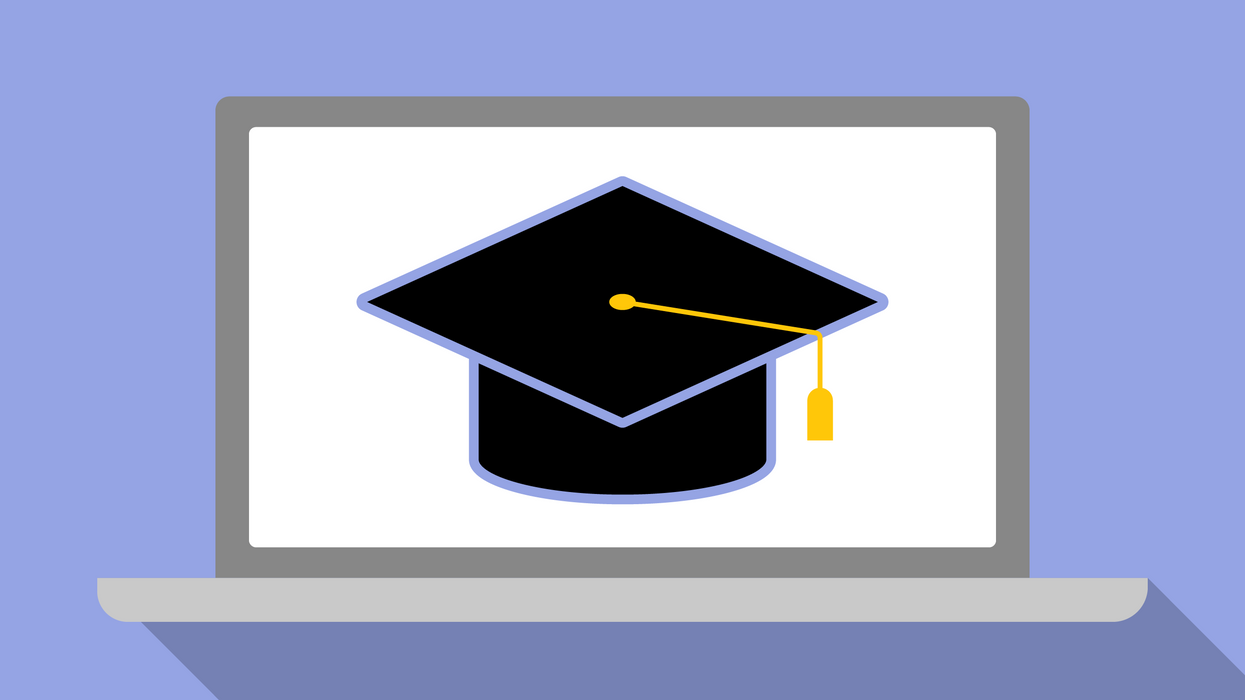 Graduation cap on a laptop screen