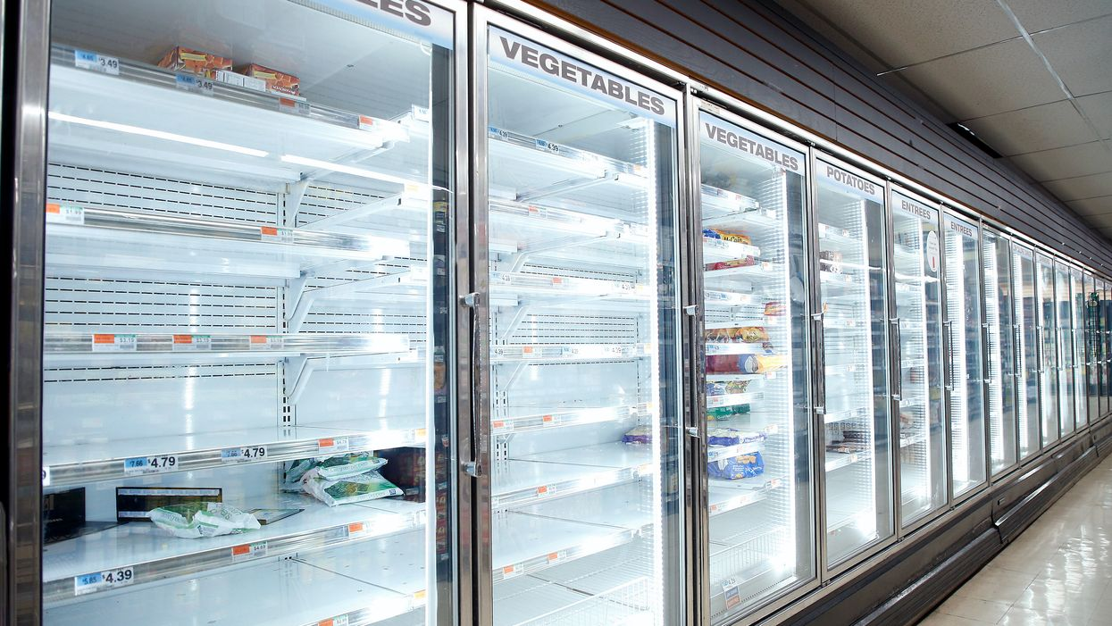 Empty freezer shelves at a grocery store