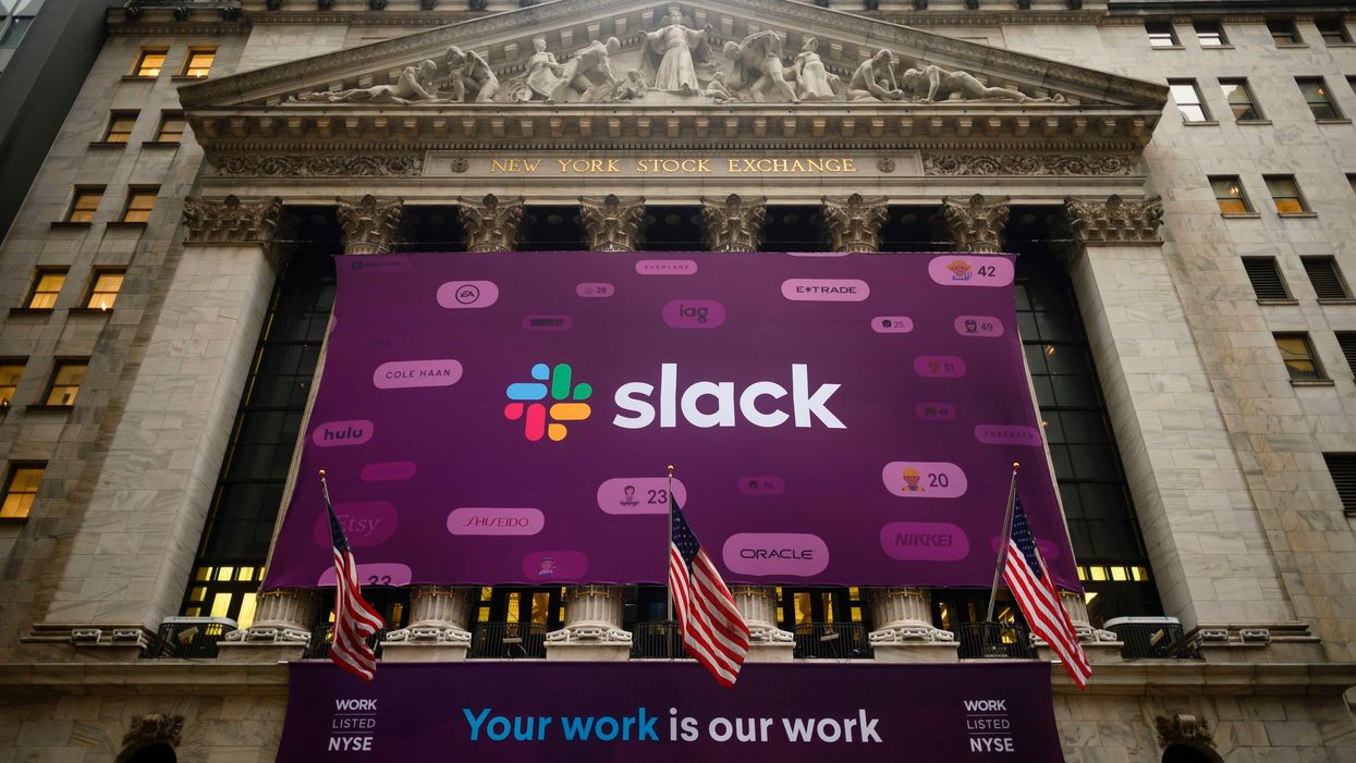 The Slack logo at the New York Stock Exchange
