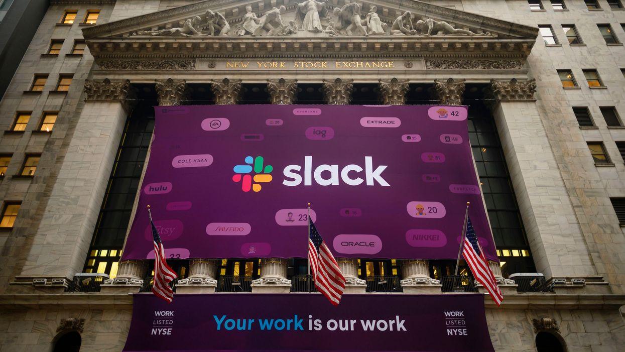 The Slack logo at the New York Stock Exchange