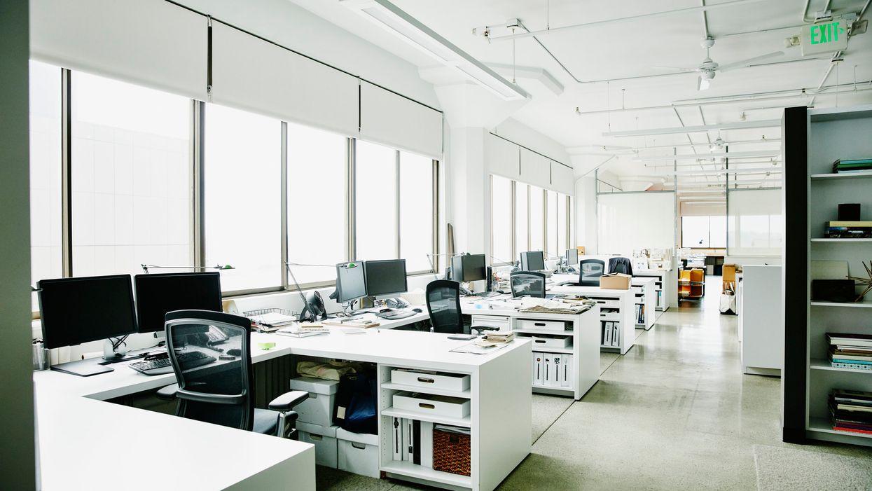Empty desks in an office
